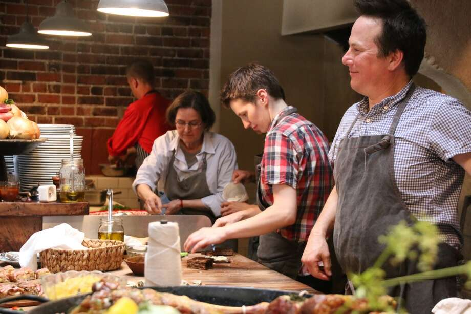 Chefs in action at the Paula Wolfert Tribute Dinner. Photo: Alzheimer's Association