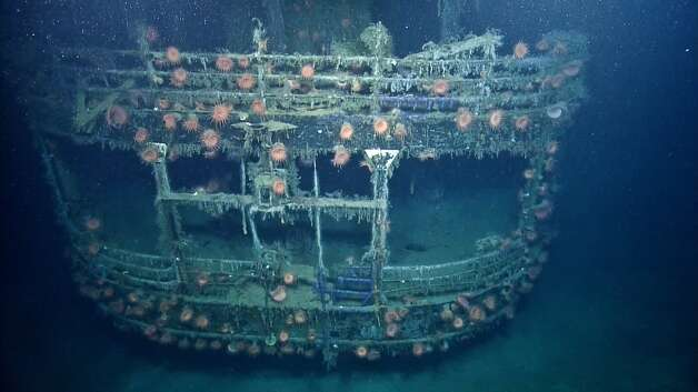 SS Robert E. LeeAnemones flourish on the wreck of the SS Robert E Lee which was discovered in 2001, two miles from the German U-Boat that sunk it in 1942, U-166. Photo: Ocean Exploration Trust