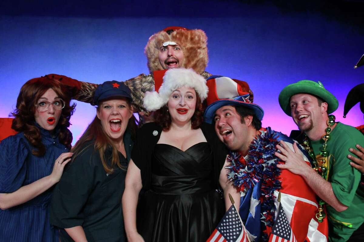 """(For the Chronicle/Gary Fountain, July 9, 2014) Rachel Rubin, from left, Rebecca Randall Feit, John Dunn, in back as a groundhog, Tamarie Cooper, Abraham Zapata and Christian Holmes, in this scene from Catastrophic Theatre's """"A very Tamarie Christmas,"""" a show spoofing Christmas and other holidays, well-known and virtually unknown."""