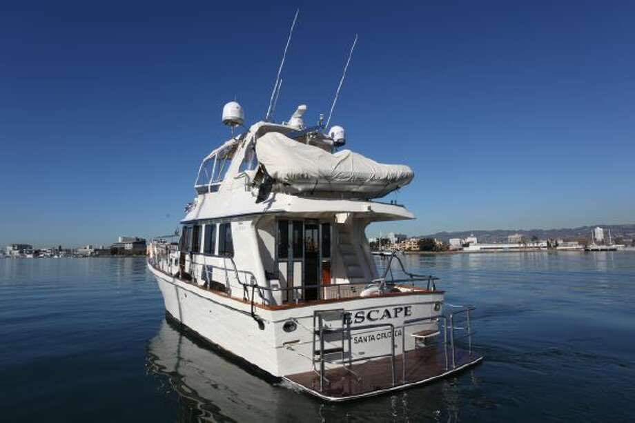 The Escape, a 45-foot yacht where a former Google executive died, is for sale in Alameda. Photo: Richard Boland