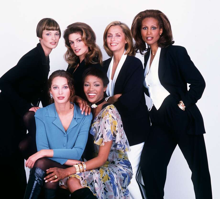 (R to L) Linda Evangelista, Cindy Crawford, Lauren Hutton, Beverly Johnson, Christy Turlington and Naomi Campbell  in 1993. Photo: Frank Micelotta, Getty Images