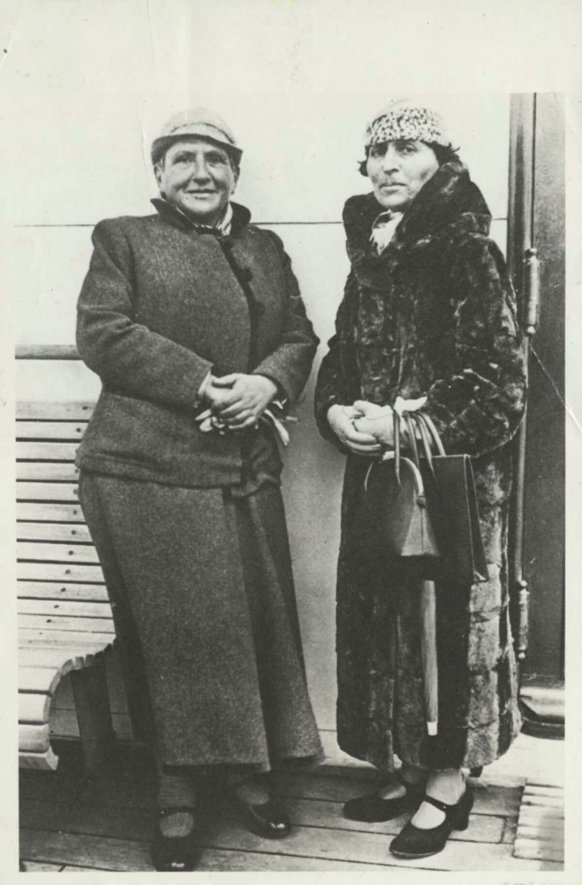 Gertrude Stein, left, and Alice B. Toklas arrive in New York on SS Champlain. Date unknown.