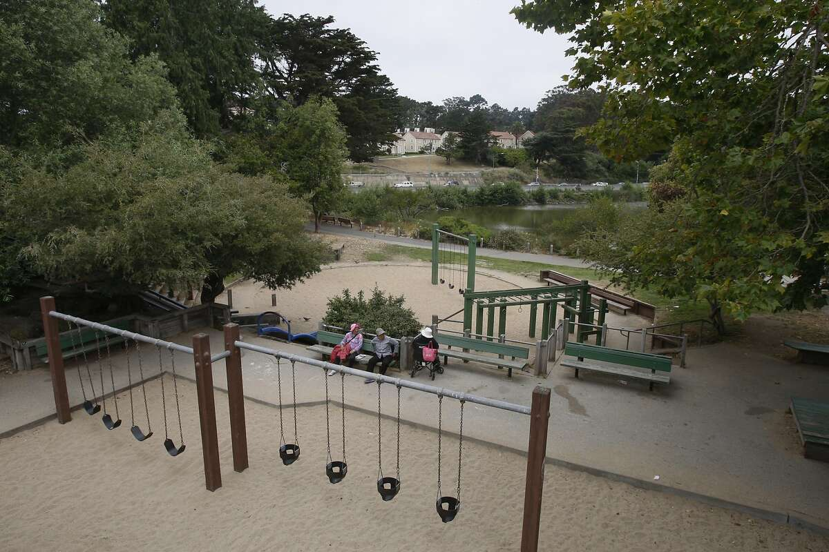 An overview of the playground at Mountain Lake Park on July 02, 2014 in San Francisco, CA. A group of parents, with the blessing of a complex system of bureaucracy, advocacy and philanthropy, are working to create a new playground at Mountain Lake Park.