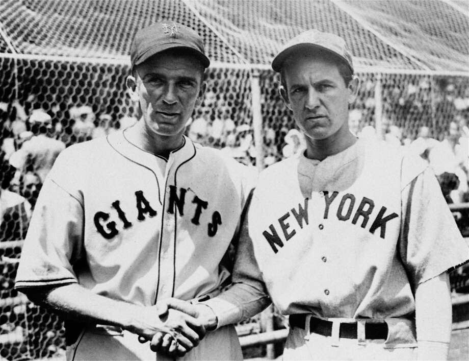 """MOST DOMINANT PERFORMANCEThe All-Star Game was in its second year in 1934 when Carl Hubbell (left) of the New York Giants put on a pitching performance that may never be equaled. Left-handed Hubbell used his uncanny screwball to strike out five consecutive batters, all future Hall of Famers — Babe Ruth, Lou Gehrig, Jimmie Foxx, Al Simmons and Joe Cronin.Then again, Hubbell was no slouch. He was in the midst of five consecutive 20-win seasons that would seal his own place in the Hall of Fame (he was 253-154 with a 2.98 ERA in 16 seasons, all with the Giants). He pitched in three World Series, winning twice for the 1933 championship team that beat the Senators in five games, was a two-time NL MVP, and his retired No. 11 is displayed at China Basin.""""Carl Hubbell was a pretty historic baseball figure, and he's striking out gargantuan ballplayers, beginning with the most gargantuan and working his way through, an extraordinary feat,"""" said Mike Gibbons, executive director of the Babe Ruth Museum in Baltimore. Photo: Adf, ASSOCIATED PRESS"""