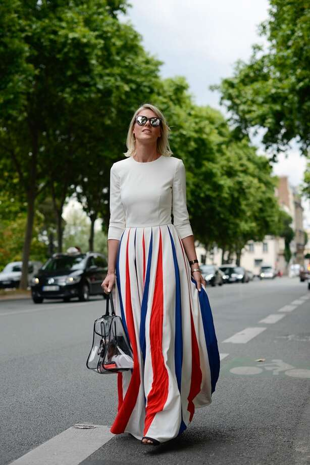 Fashion Blogger Sofie Valkiers poses wearing an A La Russe dress and Dior bag before the Dior show on July 7, 2014 in Paris, France. Photo: Vanni Bassetti, Getty Images