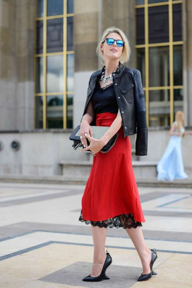 Fashion blogger Sofie Valkiers wears a Barbour jacket, Kalmanovich dress, Louboutin shoes, Chanel bag and Spektre sunglasses after the Giorgio Armani Prive show on July 8, 2014 in Paris, France. Photo: Vanni Bassetti, Getty Images