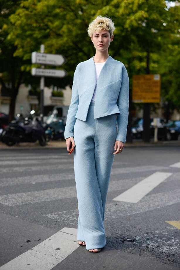 Marie Marcombe poses wearing Anais Guery jacket and pants before Giorgio Armani Prive show on July 8, 2014 in Paris, France. Photo: Vanni Bassetti, Getty Images