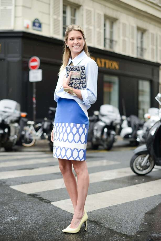 Fashion Blogger Helena Bordon poses wearing a Zara shirt, David Koma skirt and an Olympia Le Tan clutch before the Vionnet show on July 9, 2014 in Paris, France. Photo: Vanni Bassetti, Getty Images