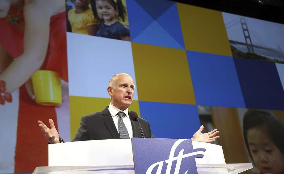 California Gov, Jerry Brown  speaks at The American Federation of Teachers at Los Angeles Friday, July 11, 2014. Republican gubernatorial candidate Neel Kashkari accuses Gov. Brown of ignoring the plight of poor and minority students, but Brown robustly defends his record on education at a teachers union convention. (AP Photo/Nick Ut) Photo: Nick Ut, Associated Press