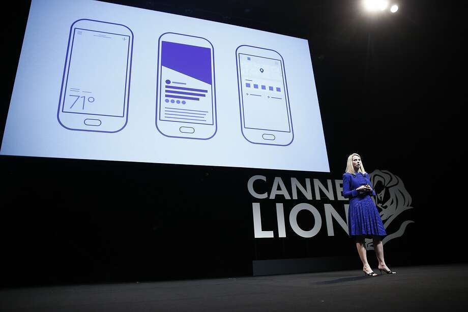 Yahoo CEO Marissa Mayer - not a conference crasher - speaks  at the Cannes Lions International Festival of Creativity in France. Photo: Simon Dawson, Bloomberg