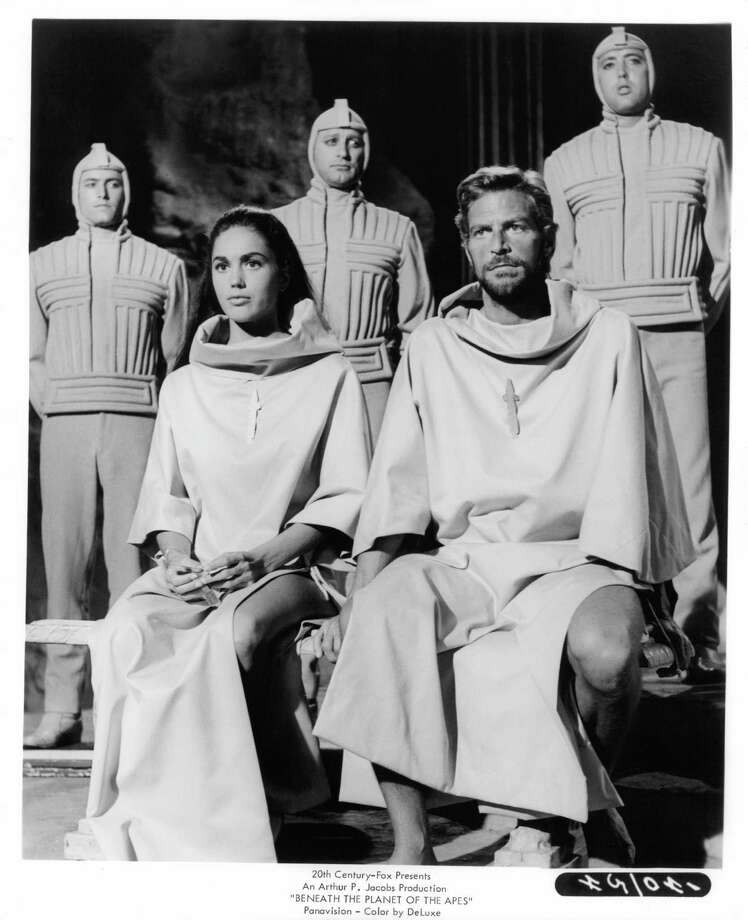 "1970: ""Beneath the Planet of the Apes."" A second spacecraft, on a rescue mission for the first lost craft, falls to future Earth ruled by apes. But Charlton Heston shows them but good when he blows up the planet in the final act. Of course, this did not stop the sequels. Photo: Archive Photos, Getty Images / 2012 Getty Images"