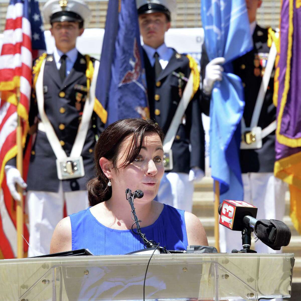 Acting Commissioner of the NYS Office for People With Developmental Disabilities Kerry Delaney speaks on the Capitol steps during a ceremony commemorating the NYSARC's 65 years of service to the disabled Friday, July 11, 2014, in Albany, N.Y. (John Carl D'Annibale / Times Union)