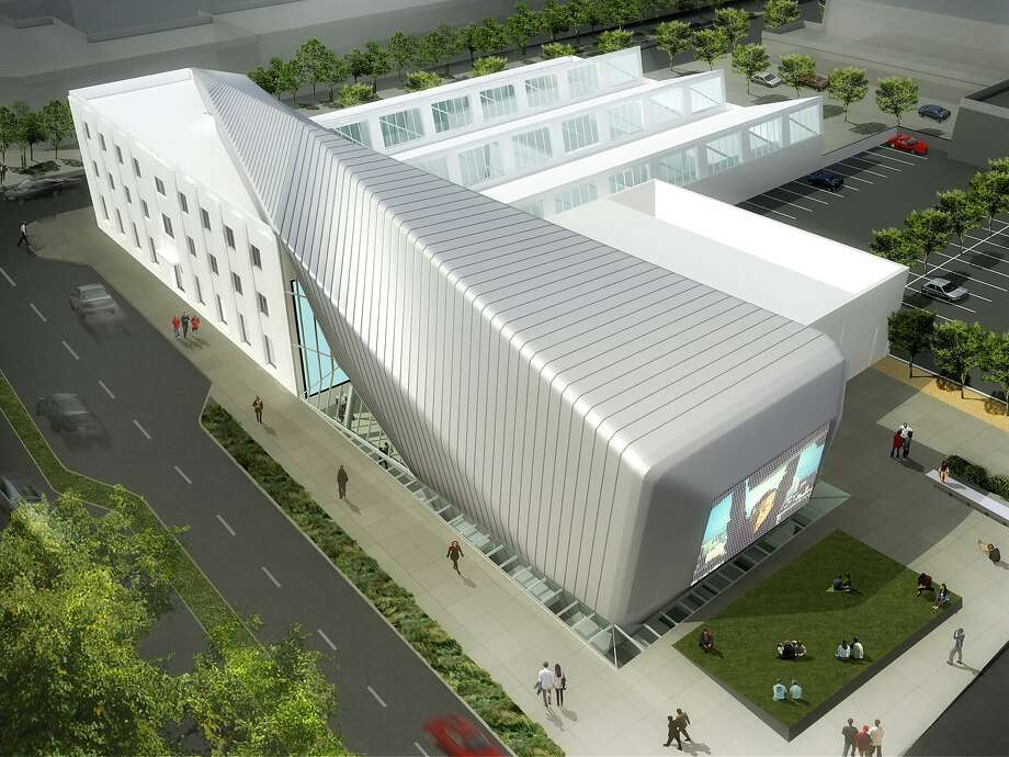 Rendering of the new Berkeley Art Museum and Pacific Film Archive shows the contemporary silver addition to the existing 1939 streamlined Deco building on Center Street. Photo: Bam/pfa
