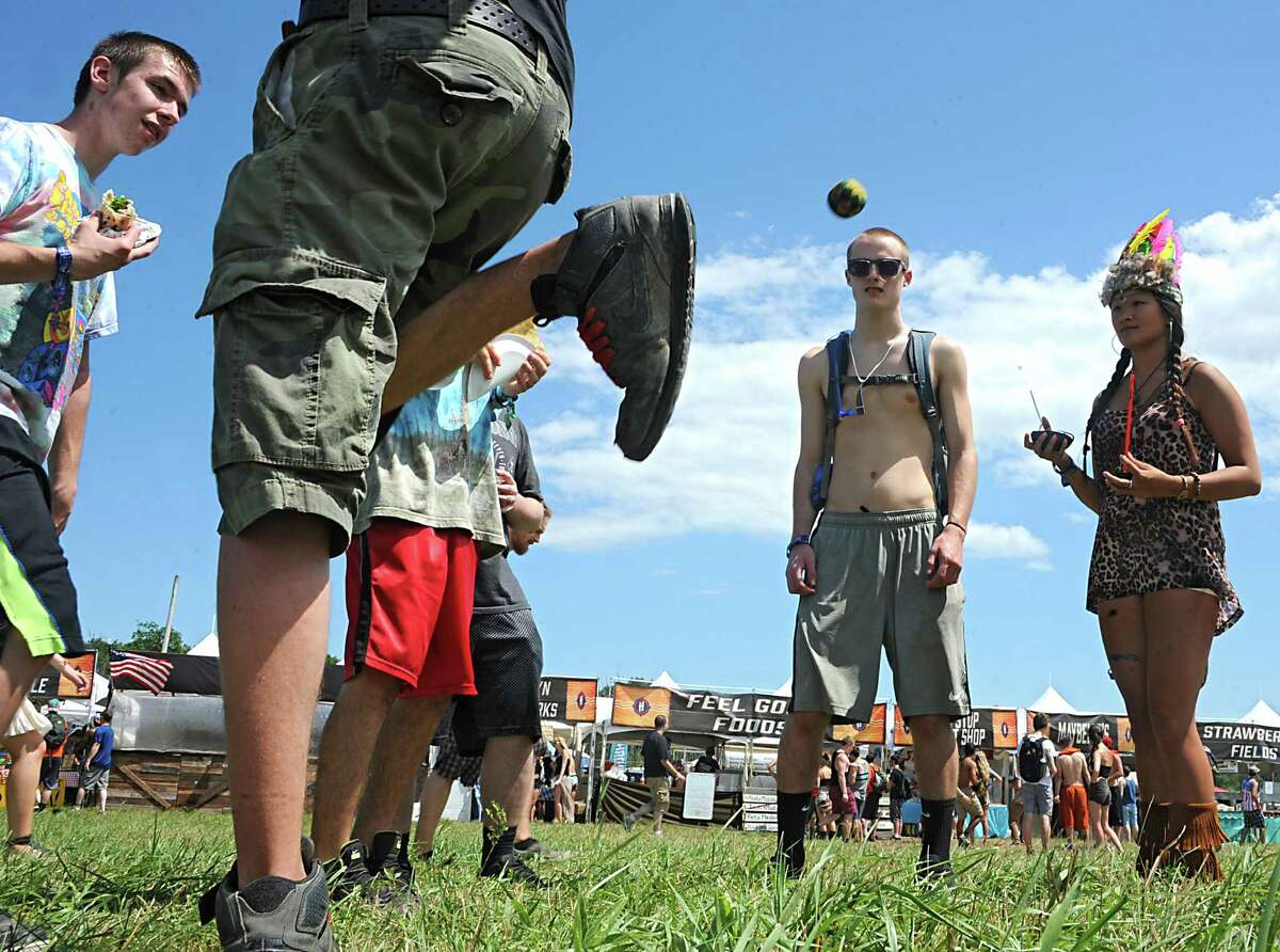 Hacky sackers enjoy the sunny day at the Hudson Project music and arts festival on Winston Farm Friday, July 11, 2014 in Saugerties, N.Y. (Lori Van Buren / Times Union)