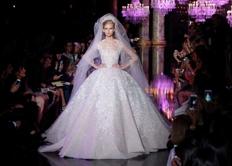 A Model Wears The Wedding Gown For Lebanese Fashion