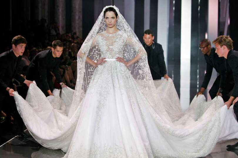 A Model Wears The Wedding Gown For Ralph & Russo's