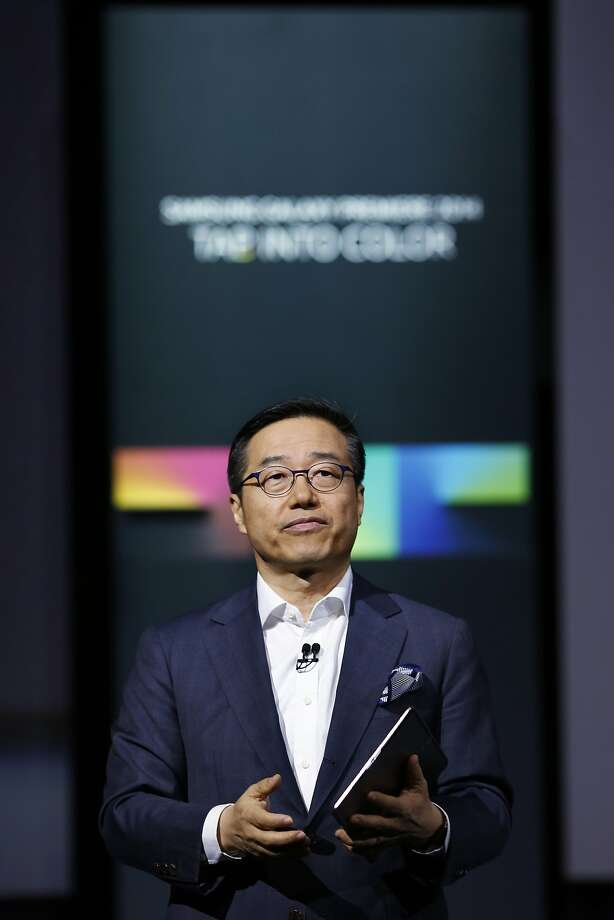 D.J. Lee of Samsung's mobile division introduces the Galaxy S tablet last month. Photo: Victor J. Blue, Bloomberg