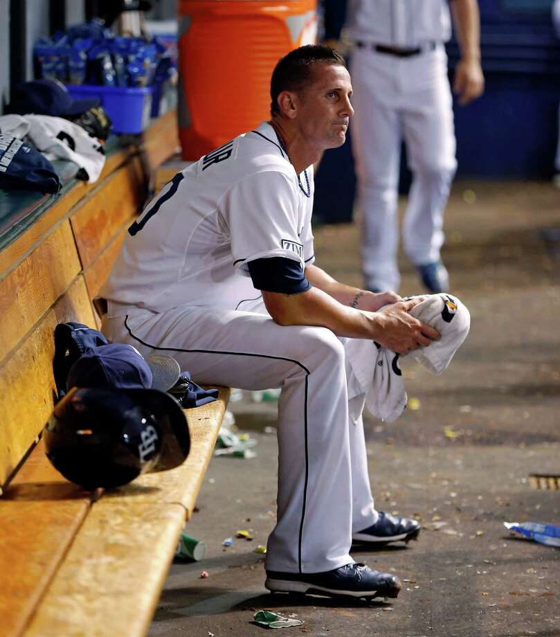 Tampa Bay Rays relief pitcher Grant Balfour reacts after being removed during the ninth inning of a baseball game against the Toronto Blue Jays Friday, July 11, 2014, in St. Petersburg, Fla. (AP Photo/Mike Carlson) ORG XMIT: FLMC115 Photo: MIKE CARLSON / FR155492 AP