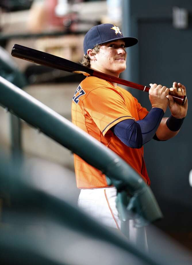 Enrique Hernandez in the dugout before Friday's game. Photo: Karen Warren, Houston Chronicle
