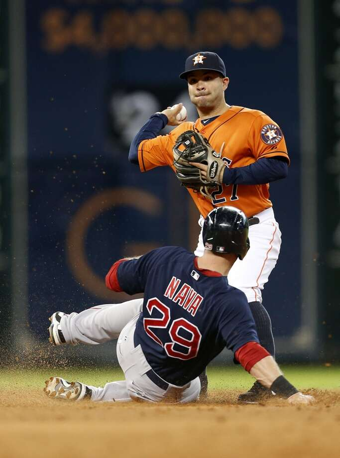 Jose Altuve (27) makes the out on Daniel Nava in the second inning. Photo: Karen Warren, Houston Chronicle
