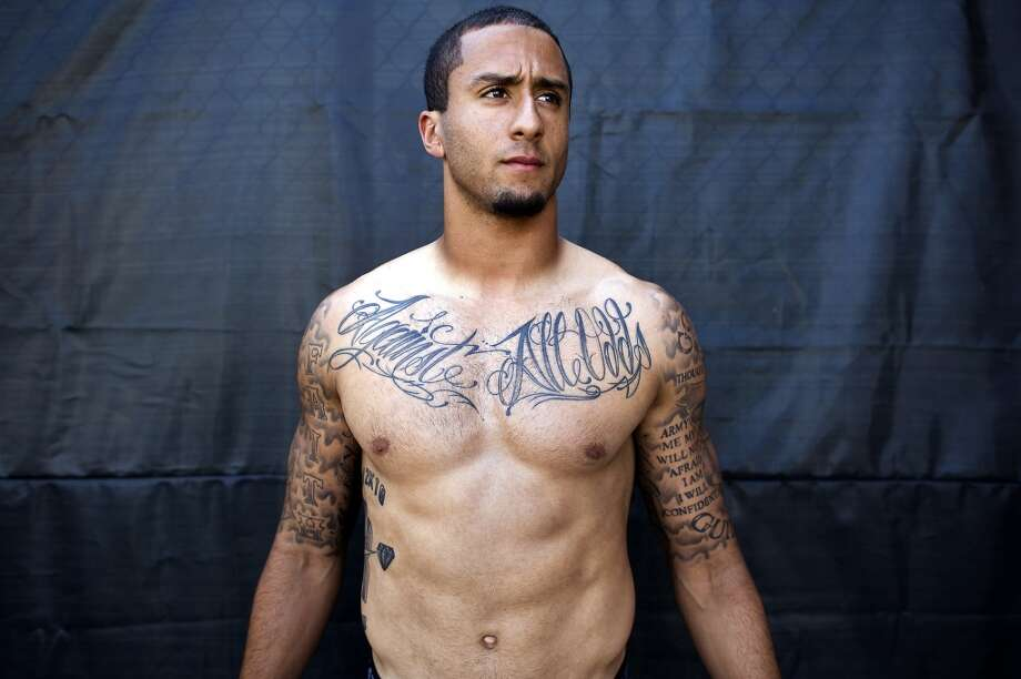 Colin Kaepernick's torso tattoos in 2012, before he added even more ink. Photo: Michael Short, Special To The Chronicle
