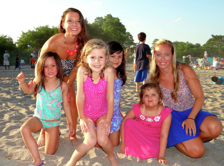 Enjoying the Sand Jam party Friday on Jennings Beach were, from left, Jessica Poole, Audrey Compares, Stevie Laplante, Natalie Compare, Sadie Edwards and Meghan Poole. Photo: Mike Lauterborn / Fairfield Citizen