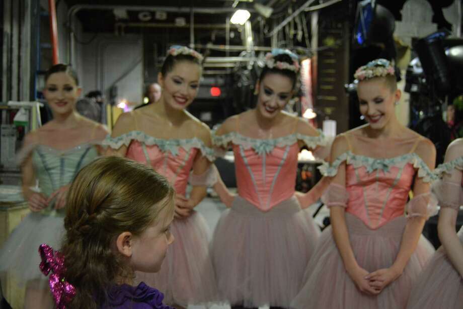 Aria meets ballerinas from the New York City Ballet backstage during their Friday, July 11, 2014, performance at SPAC. (Provided by Larry Hovish)