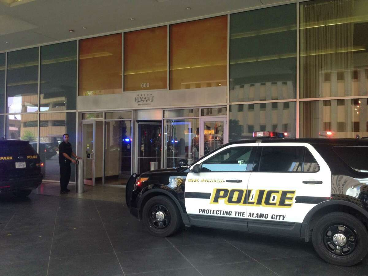 A scene from the Grand Hyatt San Antonio hotel where a man was shot and killed during an altercation Saturday afternoon.