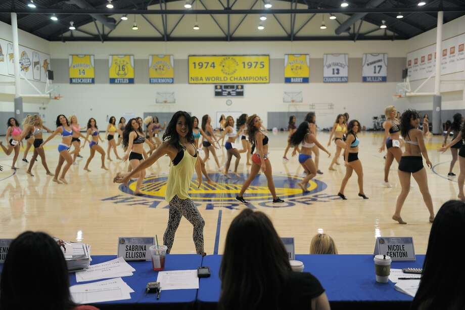 Choreographer Kristin Holloway teaches contestants a dance routine in preparation for the first round of auditions for next season's Golden State Warriors Dance Team. Photo: Craig Hudson, The Chronicle