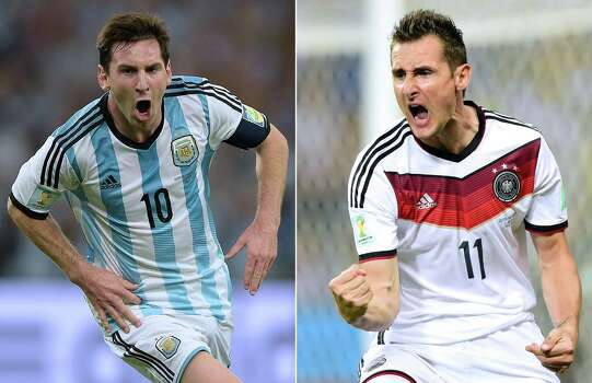 A combination of file photos shows Argentina's forward and captain Lionel Messi (L)  in Rio De Janeiro on June 15, 2014 and Germany's forward Miroslav Klose in Fortaleza on June 21, 2014 . Germany will face Argentina in the final match of the 2014 FIFA World Cup in Rio de Janeiro on July 13, 2014.  AFP PHOTO / JUAN MABROMATA / JAVIER SORIANOJUAN MABROMATA/AFP/Getty Images Photo: JUAN MABROMATA, AFP/Getty Images / AFP