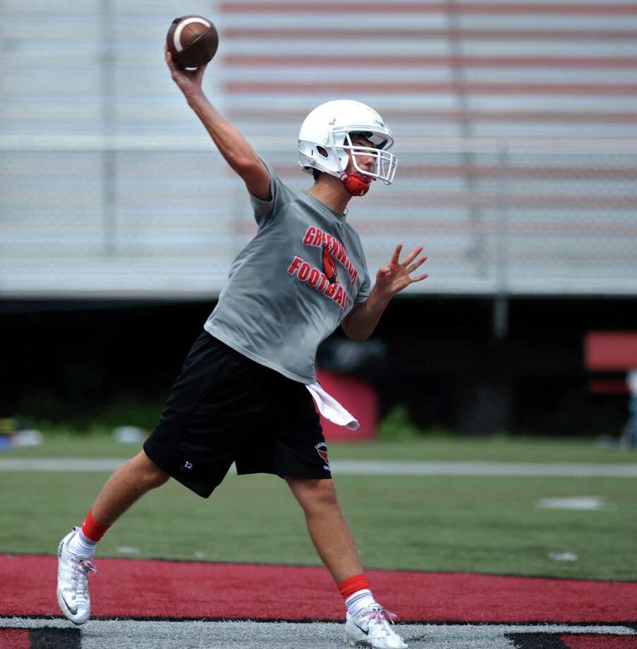 Greenwich quarterback Matt Marzulla passes the ball during the 7th annual Grip It and Rip It 7-on-7 passing tournament at New Canaan High School Saturday, July 12, 2014. Photo: Autumn Driscoll / Connecticut Post