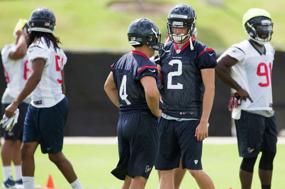 Randy Bullock, left, will have a serious challenge on his hands to retain his kicking job. The Texans have brought in Rice's talented Chris Boswell, right. Photo: Brett Coomer, Staff / © 2014  Houston Chronicle