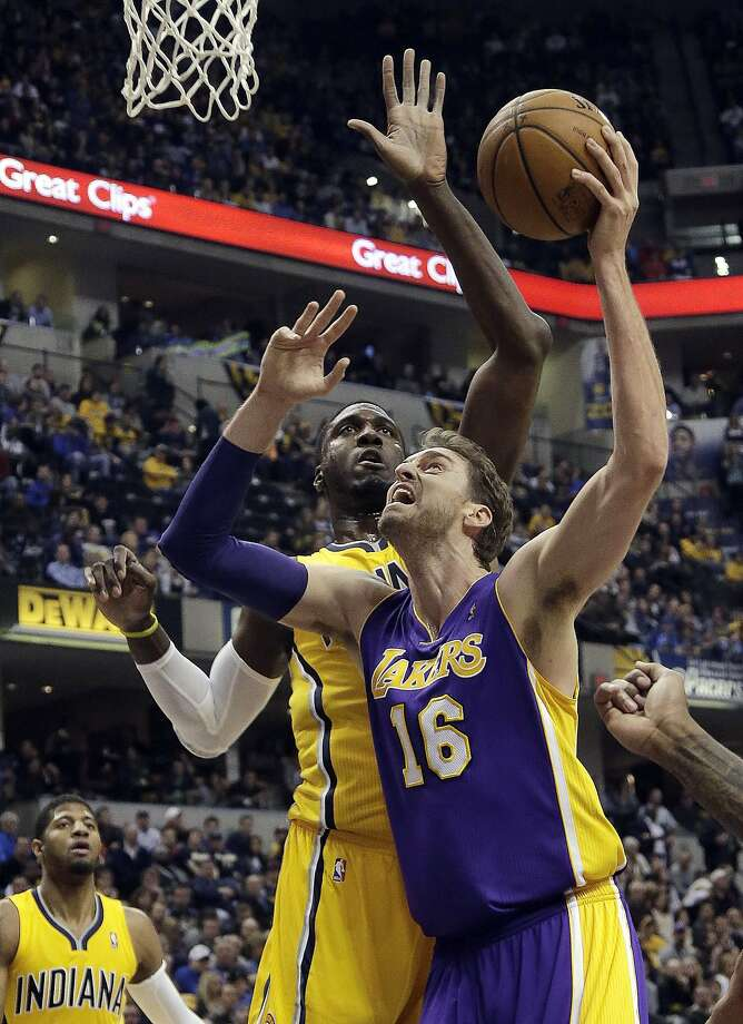 Pau Gasol played for the Lakers for seven years and helped win two NBA championships with Kobe Bryant. Photo: Aj Mast, Associated Press