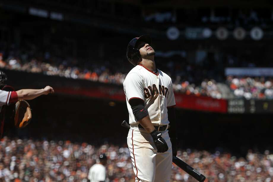 A called strike seems not to sit well with Gregor Blanco. Photo: Michael Short, The Chronicle