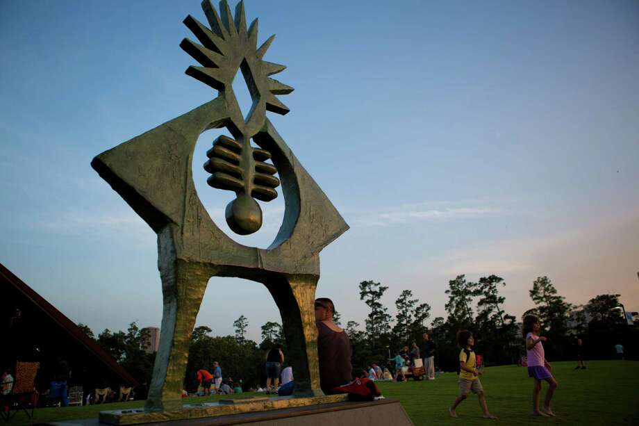 The Atropos Key, by sculptor Hannah Stewart has been on top of the Hill on Hermann Park since 1972. In Greek mythology, along with her sister, Atropos was responsible for the destiny of humans. Wednesday, July 2, 2014, in Houston. ( Marie D. De Jesus / Houston Chronicle ) Photo: Marie D. De Jesus, Staff / © 2014 Houston Chronicle