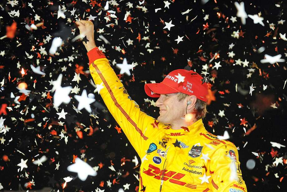 Ryan Hunter-Reay celebrates his third win this season and second in three years in Iowa. Photo: Rainier Ehrhardt, Getty Images