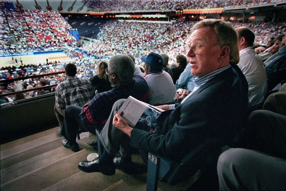 Bob Coleman, who is largely responsible for bringing the 98 Final Four to San Antonio, is seen in this photo from the 97 Final Four in Indianapolis. Photo: BOB OWEN, SAN ANTONIO EXPRESS-NEWS