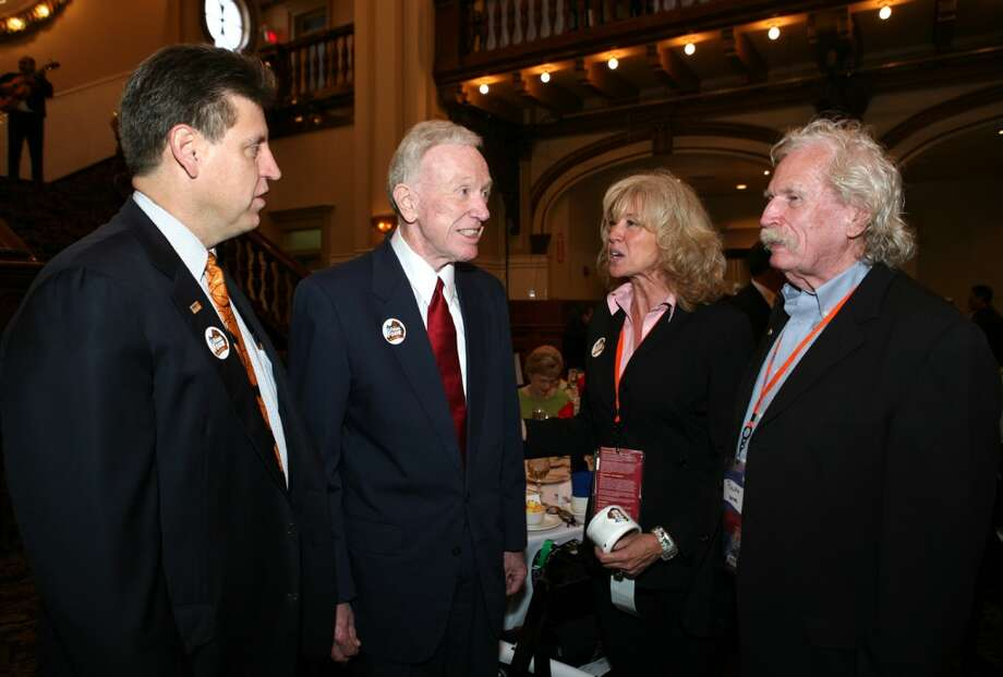 Robert Marbut (guest), Bob Coleman (honoree), Liz Fritz and Ralph Bender (event co chairs) were at the Basketball Writers Breakfast on 4/4/2008 at Sunset Station. Photo: LELAND A. OUTZ, SPECIAL TO THE EXPRESS-NEWS