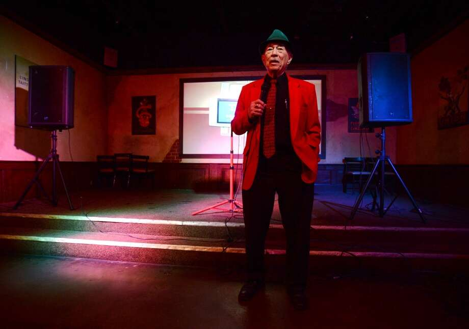 "Tony Alamo waits for the beginning of his song, ""New York, New York"" by Frank Sinatra, during his turn on the karaoke stage at Dylan's on Wednesday. Dylan's Bar and Grill in Port Arthur hosts karaoke on Wednesday nights. Photo taken Wednesday, 2/12/14 Jake Daniels/@JakeD_in_SETX"