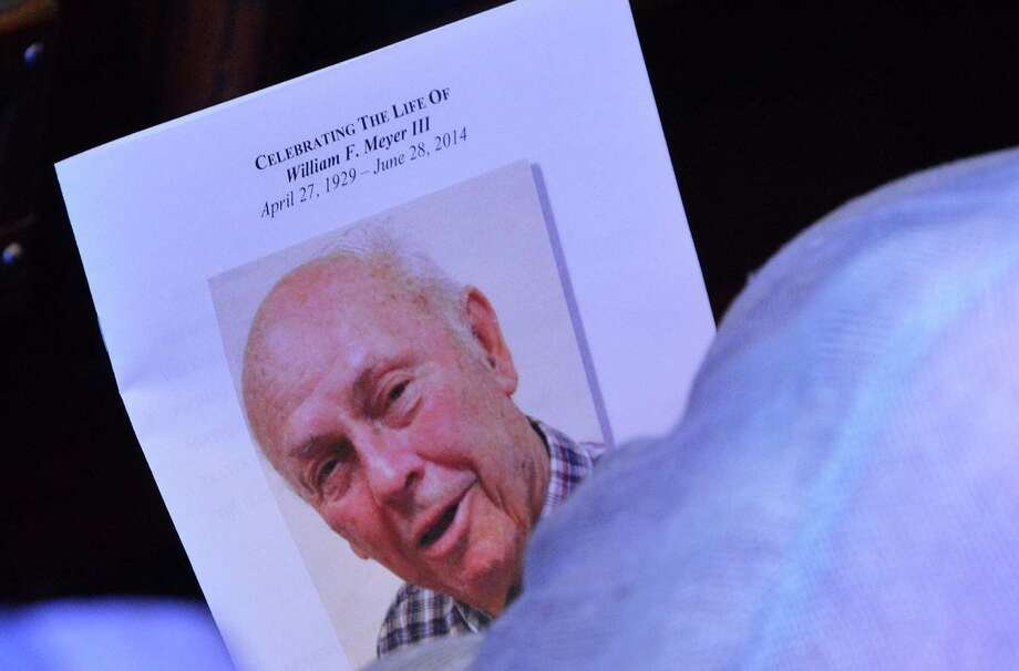 A photo of Bill Meyer on the program for his memorial service Saturday, which was attended by several hundred people at Christ & Holy Trinity Episcopal Church. Photo: Jarret Liotta / Westport News