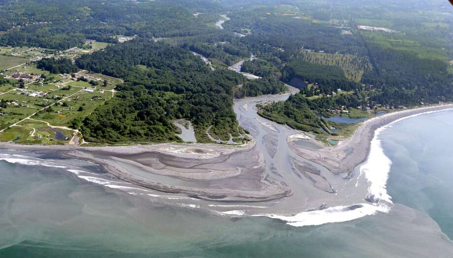 In this photo taken June 3, 2014, the Elwha River flows into the Strait of Juan de Fuca near Port Angeles, Wash. The final chunks of concrete are expected to fall this September in the nation�s largest dam removal project, but nature is already reclaiming the Elwha River on Washington�s Olympic Peninsula. So much sediment, once trapped in reservoirs behind two hydroelectric dams, has flowed downstream that it has dramatically reshaped the river�s mouth, replenished eroding beaches and created new habitat for marine creatures not observed there in years. Meanwhile, Chinook salmon and steelhead have been streaming into stretches of the Elwha River and its tributaries previously blocked by the Elwha Dam, which stood for nearly a century before it came down in 2012. Photo: Elaine Thompson, AP  / AP2014