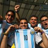 Argentina fans enjoy the atmosphere prior to the 2014 FIFA World Cup Brazil Final match between Germany and Argentina at Maracana on July 13, 2014 in Rio de Janeiro, Brazil.