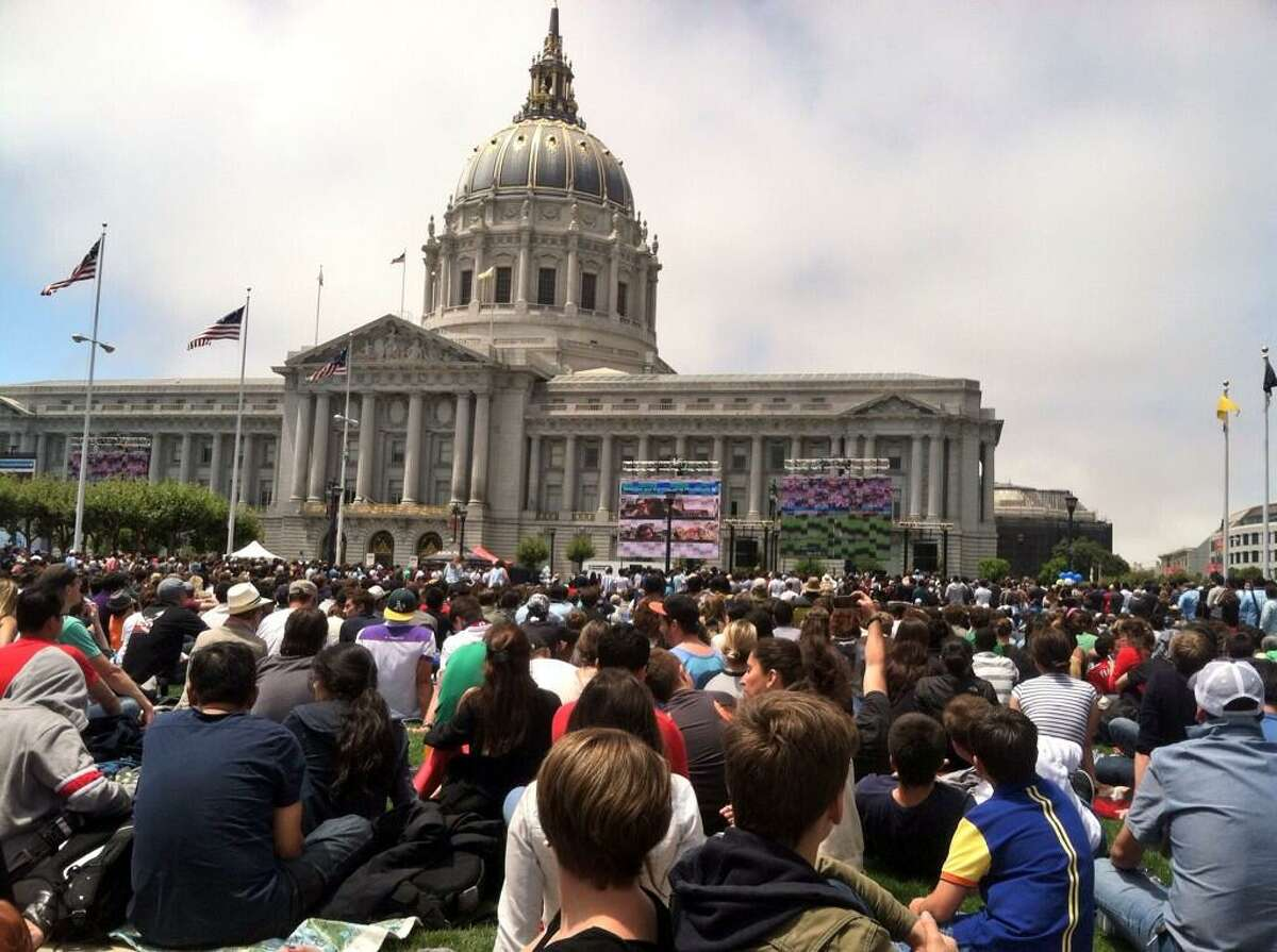 Civic Center Plaza (Fulton St and Larkin St, San Francisco, California) will have a free outdoor public viewing of the Women's World Cup final on Sunday morning. (Chronicle Photo)