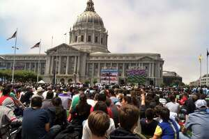 Fans pack the Civic Center for the World Cup final Sunday, July 13, 2014. (Evan Sernoffsky/San Francisco Chronicle).