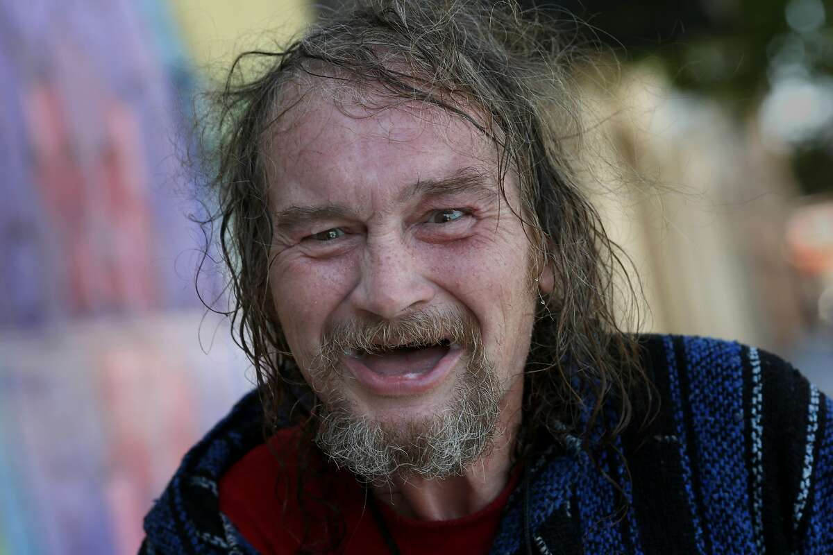 Silas Borden, a homeless man, was very thankful for his shower on the Lava Mae bus Tuesday June 24, 2014 in San Francisco, Calif. Lava Mae, the program that is turning old MUNI buses into showers for homeless people. began their test run in front of the Mission Neighborhood Resource Center.