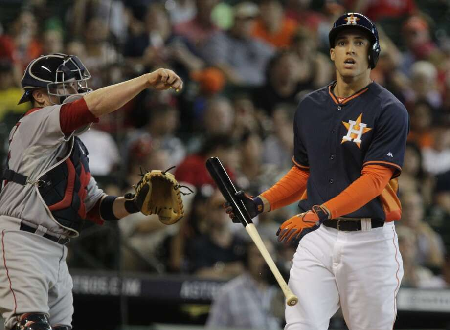 Astros George Springer strikes out swinging. Photo: Melissa Phillip, Houston Chronicle