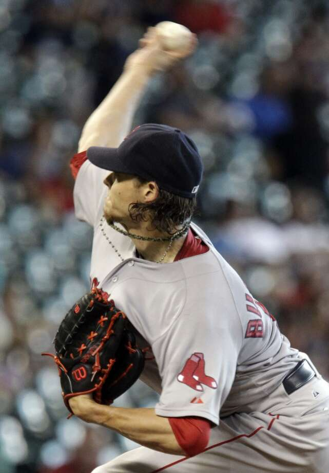 Clay Buchholz pitches against the Astros. Photo: Melissa Phillip, Houston Chronicle