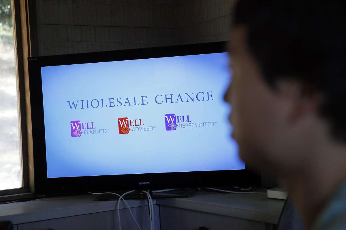 The Wholesale Change logo is seen on a computer monitor at the company's offices in Santa Rosa, CA, Thursday, July 10, 2014.