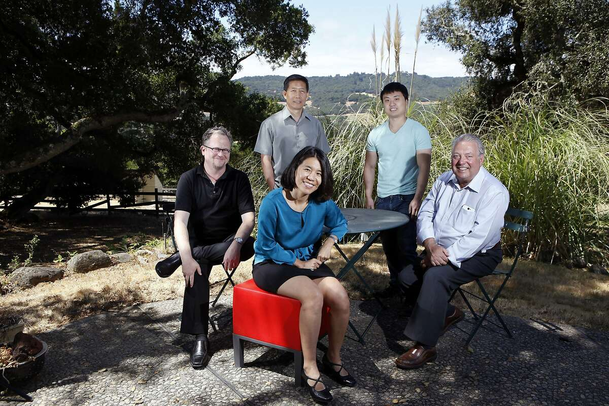 (L-R)Wholesale Change's co-founder John Denning, financier James Guo, business analyst Jing MacKenzie, market researcher J.R. Cho and CEO Robert Morris pose for a portrait at their offices in Santa Rosa, CA, Thursday, July 10, 2014.