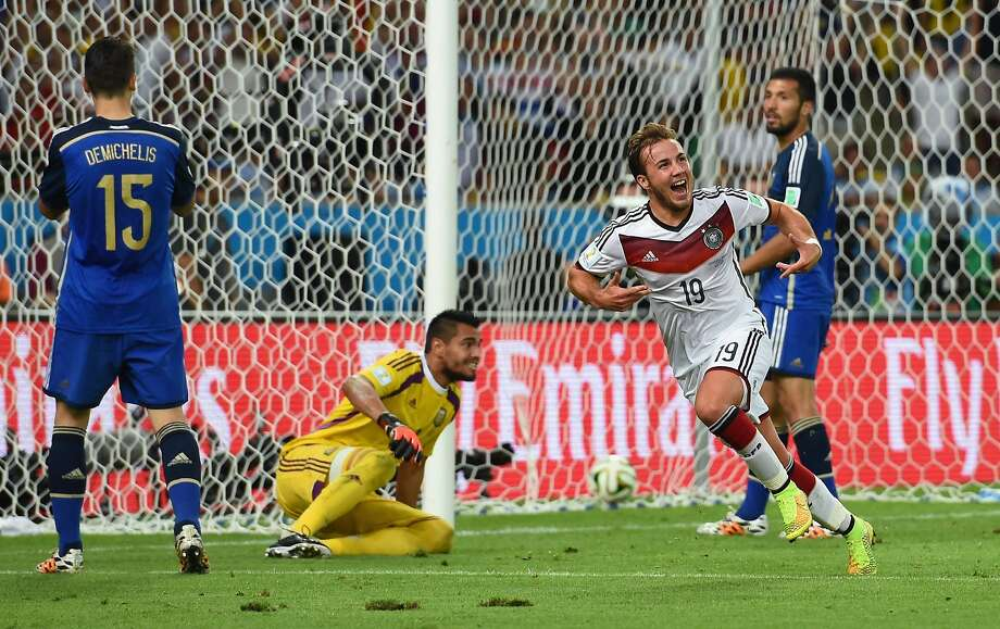 Mario Goetze, who came in as a late substitute, gets the party started for Germany after scoring late in extra time in the final. Photo: Matthias Hangst, Getty Images